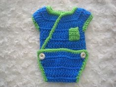 Crochet Baby Onesie w/pocket - free pattern...maybe by the time I need one of these, I'll have crocheting masted enough to make it.