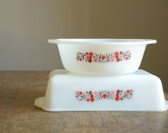 Pair of Vintage Fire King Casserole Dishes .. Primrose. $22.00, via Etsy.