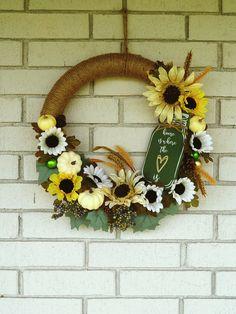 Fall Farmhouse Wreath with Sign, White Sunflower Wreath, Fall Wreath for Front Door, Pumpkin Wreath, Housewarming Gift, Fall Porch Decor