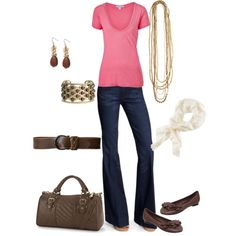 cute and casual pink & brown