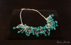 Turquoise Nuggets Necklace Silver wire Crocheted by ZegnaJewelry,