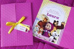 convite rosa e amarelo