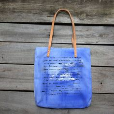 Summer tote bag cobalt blue hand painted small beach / day bag with leather straps from TheSardineBox on etsy.