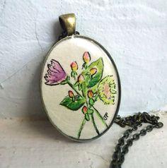 Pendant Necklace  Pressed Flower Art Necklace by jojolarue on Etsy