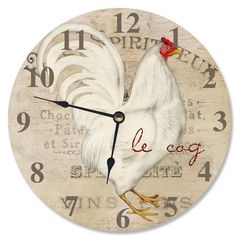 Update your country chic home by displaying the The Stupell Home Decor Collection 12 in. Le Coq White Rooster Decorative Vanity Wall Clock on your wall. Vanity For Sale, Rooster Kitchen Decor, Rooster Decor, Best Wall Clocks, Tabletop Clocks, Kitchen Themes, Large Clock, Coq, Home Wall Decor