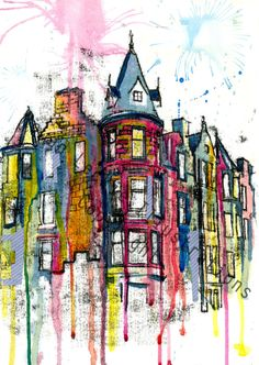 Print Edinburgh City Buildings illustrations by RowanLeckie. www.rowanleckie.com