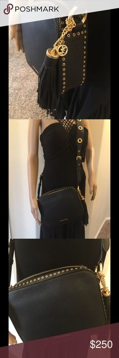 NWT MK Brooklyn leather black $398 Michael Kors saddle bag  9.5 x 8 x 2.5 Authentic MK Black brushed gold hardware Comes with dust bag  Logo lining new style  Great cross body strap  Love Love Love Michael Kors Bags Crossbody Bags
