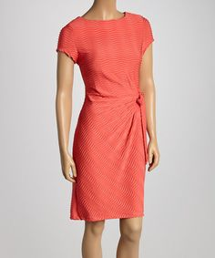 Loving this Coral Side-Gathered Sheath Dress on #zulily! #zulilyfinds