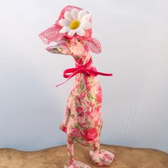 This small wooden Duck stands approx tall and is decoupaged in a pretty pink floral paper. A cerise bow and matching hat with quirky daisy completes the look Duck Ornaments, Ducks, Unique Jewelry, Handmade Gifts, Outdoor Decor, Diy, Vintage, Kid Craft Gifts, Bricolage