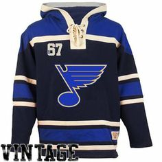 Old Time Hockey St. Louis Blues Lace Jersey Team Hoodie - Navy Blue/Royal Blue