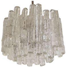 Unusual Kalmar Chandelier with Massive Ice Glass Pieces