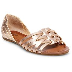 Women's Gena Wide Width Strappy Flat Huarache Sandals Mossimo Supply Co. - Rose Gold 8.5W