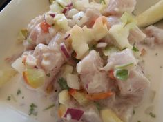 Ika Mata is one of my favorite dishes from the Cook Islands. I could eat it at every meal, every single day. Here's the recipe to make a light and easy meal in a snap. Made from raw fish, start with high grade Tuna or mild tas Raw Fish Recipes, Seafood Recipes, Cooking Recipes, Healthy Recipes, Healthy Snacks, Light And Easy Meals, Recipe Girl, Island Food, World Recipes