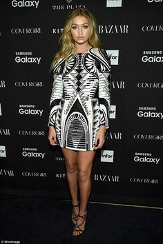 Changing it up: Gigi Hadid, who had spent most of the day trotting up and down catwalks, w...