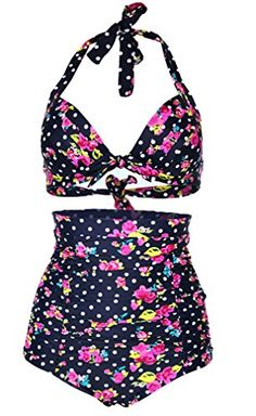 Amazon: Imilan Retro High Waist Padded Swimsuit Polka Bikini Set Plus Size -  www.plussizebrashopper.com/out/retro-flora-ploka-dot-high-waist-bikini