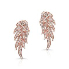 """14KT Rose Gold Diamond Wing Stud Earrings Measures 3/4"""" in length #MothersDay #MothersDayGift #MothersDayGiftIdeas"""