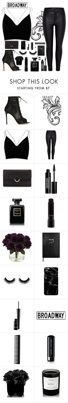 """""""Broadway"""" by hollistergirl911 ❤ liked on Polyvore featuring Gianvito Rossi, River Island, Neiman Marcus, Edward Bess, Chanel, MAC Cosmetics, Sloane Stationery, Harper & Blake, GHD and Marc Jacobs"""