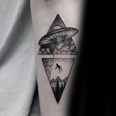 Forearm Guys Alien Triangle Tattoos