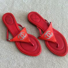 CHANEL - Red Sandal Flats Excellent condition. The price is firm and no trade. CHANEL Shoes Sandals