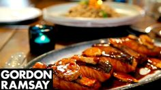 Teriyaki Salmon with Soba Noodle Salad - Gordon Ramsay Recipes Spicy Salmon, Teriyaki Salmon, Gordon Ramsay Rezepte, Gordon Ramsay Salmon, Salmon Recipes, Seafood Recipes, Seafood Menu, Thai Recipes, Cake Recipes