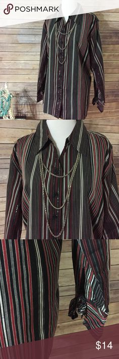 """Dress Barn Blouse In like new condition, black red grey and white stripes. Perfect for fall then add a sweater as the weather gets colder. Sz 14/16W. Bust 48"""" length 27"""".  Necklace set available in a separate listing. T01 Dress Barn Tops Blouses"""