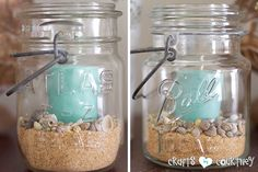 Beach decor pictures summer beach decor inspiration entertainment center mason jars filled with sand and candles beach themed wedding centerpieces pictures Nautical Bathroom Decor, Coastal Decor, Coastal Cottage, Coastal Living, Nautical Table, Coastal Style, Beach Crafts, Home Crafts, Seashell Crafts