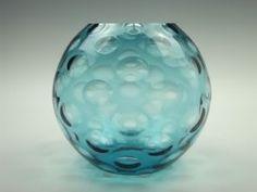 Borske Sklo 'large olives' blue glass ball vase