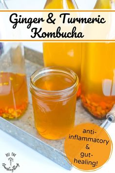 This anti-inflammatory and gut-healing Ginger and Turmeric Kombucha is an easy second ferment that adds probiotics and pain-relieving benefits to your diet! #allthenourishingthings #kombucha #ginger #turmeric #antiinflammatory #guthealth