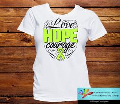 Keep it inspirational with our line of Lymphoma Love Hope Courage shirts featuring an inspiring text slogan with whimsical swirls and the awareness cause ribbon. Ideal to wear for awareness events, aw