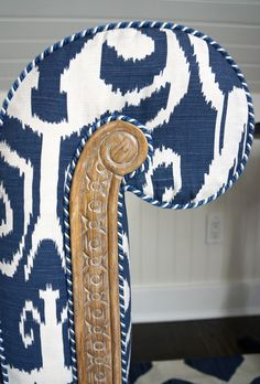 A Seasonal Wardrobe Change for My Library | Carolyne Roehm...love the trim w the fabric