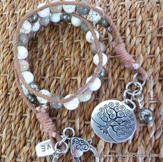 Magnesite Double Wrist Wrap - handmade crystal energy gemstone jewellery Earth Jewel Creations Australia