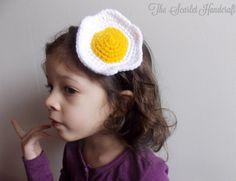 Fried Egg Headband. Crochet Fried Egg. Handmade Headband. Made to Order.