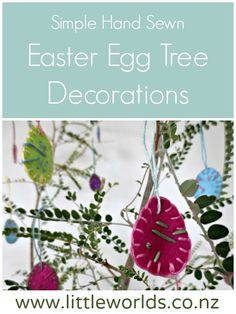 Simple Hand Sewn Felt Easter Egg Tree Decorations