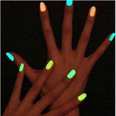 Glow stick gel paint on finger nails!