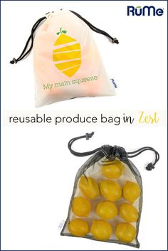 """Are you living under a plastic bag ban? Shop in zesty style and take steps to be more """"green"""" with our Zest Reusable Produce Bags. Save the roll of plastic bags at the supermarket and use these instead! Separate your produce from other heavier groceries to make sure they aren't squished and stay fresh."""