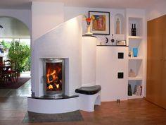 More modern take on the kachelofen wood burner Rocket Stove Design, Home Fireplace, Fireplaces, Rocket Mass Heater, Earth Bag Homes, Stove Heater, Rocket Stoves, Natural Building, Sustainable Design