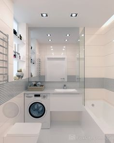 24 Laundry Room Design Ideas that Will Maximize your Small Space « housemoes Modern Laundry Rooms, Laundry Room Design, Bathroom Design Small, Bathroom Layout, Bathroom Interior Design, Modern Bathroom, Bathroom Toilets, Laundry In Bathroom, Master Bathroom