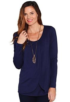674ffc4ed16 Amazon.com: Angel Maternity Petal Front Nursing Top in Long Sleeve - Navy -  Extra Small (XS): Clothing