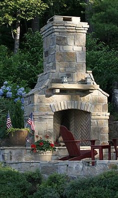 Outdoor Fireplace Pictures, Massive Outdoor Stone Fireplace Design with Red Accents Pic Outdoor Fireplace Patio, Outdoor Stone Fireplaces, Outside Fireplace, Outdoor Fireplace Designs, Fireplace Kits, Fireplace Stone, Fireplace Makeovers, Fireplace Kitchen, Fireplace Mantles