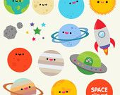 Items similar to Space clipart commercial use, digital planet graphics-  cartoon kawaii planets asteroid moon spaceship digital clip art vectors download on Etsy