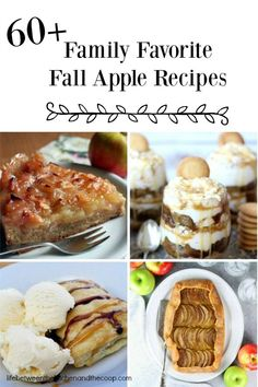 Use up all of those apples with these 60  Family Favorite Fall Apple Recipes! Apple Side Dish Recipes, Apple Dessert Recipes, Fruit Recipes, Fall Recipes, Holiday Recipes, Delicious Desserts, Yummy Food, Delicious Cookies, Holiday Meals