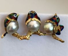 "VINTAGE BIRDS BROOCH PIN 18K YG ENAMEL WITH 3 JAPANESE CULTURED PERLS VERY RARE 17.3 grams, 2"" long, pearls 10.5mm, stamped 18K, Italy, COM eBay Buy-it-Now $1875.00"