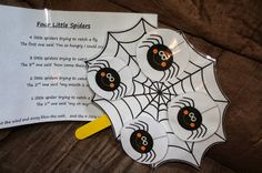 """""""4 Little Spiders"""" Circle Time Activity / Song (from Annie's Adventures In Homeschooling)"""