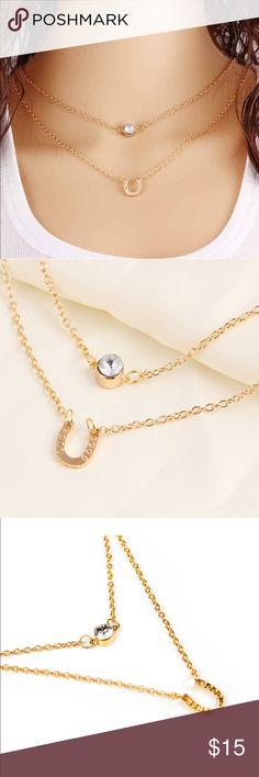 Retro crystal horseshoe layered necklace Retro crystal horseshoe necklace  Product details are provided in pics Jewelry Necklaces