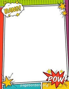 Free comic book border templates including printable border paper and clip art versions. File formats include GIF, JPG, PDF, and PNG. Borders For Paper, Borders And Frames, Comic Book Yearbook, Superhero Background, Comic Book Background, Comic Party, Boarder Designs, Scrapbook Frames, Free Comic Books