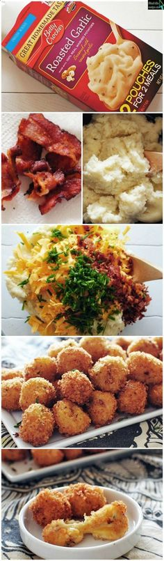 """GREAT idea to use up left over mashed potatoes!!! My family LOVES loaded potato skins....so we have """"extra"""" scooped out potato when I make them....now I have something to do with that extra potato! ^_^"""
