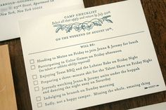 This is a great RSVP for a camping wedding... an idea I still have tucked away in the back of my mind