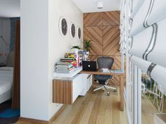 Comfy Home Office Designs for Everybody : Small Home Office Black White Pine Wood Home Office Space