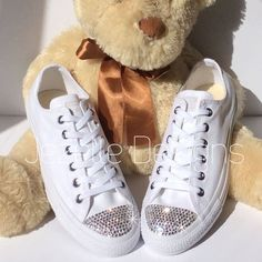 Womens ALL White Bedazzled Converse: Glitter Converse Shoes With Genuine Swarovski Crystals