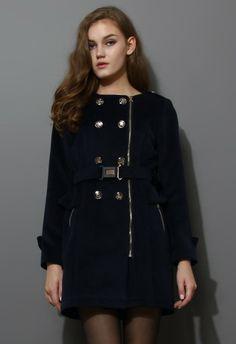 Navy Blue Peplum Wool-blend Coat with Belt